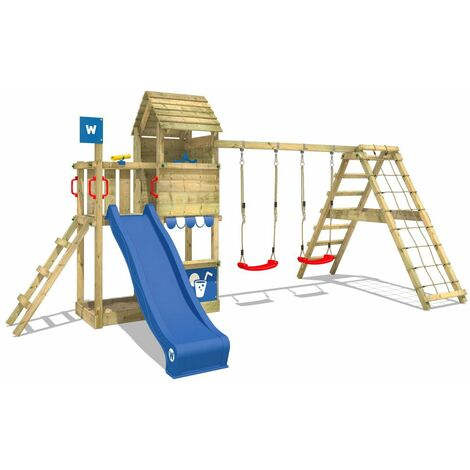 WICKEY Wooden climbing frame Smart Port with swing set and blue slide, Garden playhouse with sandpit, climbing wall & play-accessories
