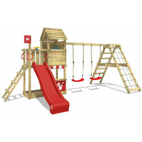 WICKEY Wooden climbing frame Smart Port with swing set and red slide, Garden playhouse with sandpit, climbing wall & play-accessories