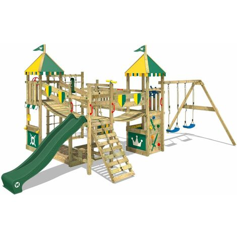 WICKEY Wooden climbing frame Smart Queen with swing set and green slide, Knight's playcastle with sandpit, climbing ladder & play-accessories