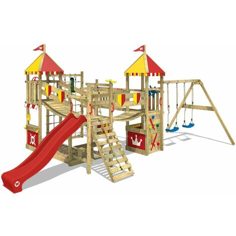 WICKEY Wooden climbing frame Smart Queen with swing set and red Knight's playcastle with sandpit, climbing ladder & play-accessories