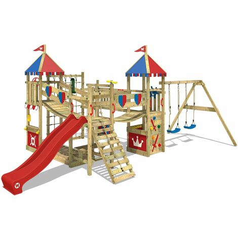 WICKEY Wooden climbing frame Smart Queen with swing set and red slide, Knight's playcastle with sandpit, climbing ladder & play-accessories