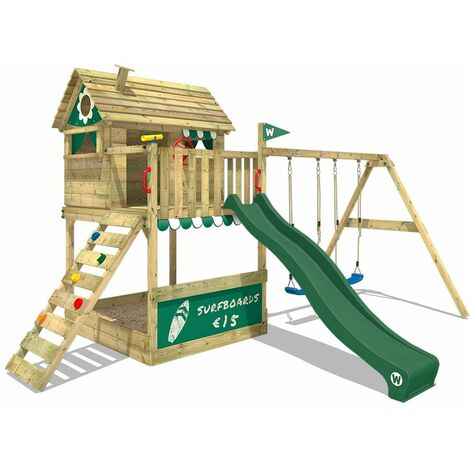 WICKEY Wooden climbing frame Smart Seaside with swing set and green slide, Playhouse on stilts for kids with sandpit, climbing ladder & play-accessories