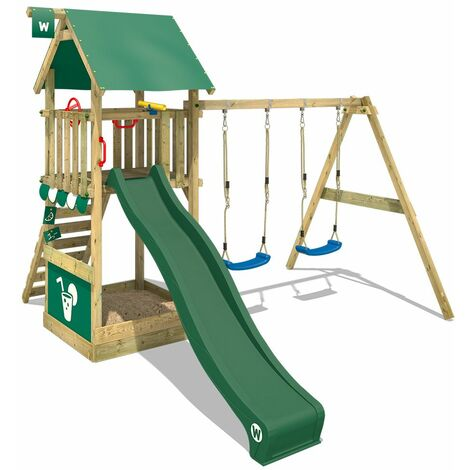 WICKEY Wooden climbing frame Smart Shelter with swing set and green slide, Garden playhouse with sandpit, climbing ladder & play-accessories