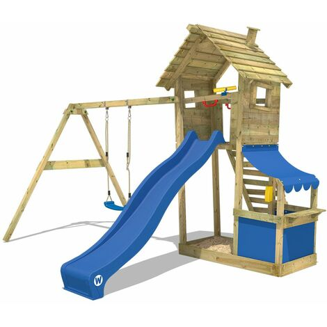WICKEY Wooden climbing frame Smart Shop with swing set and blue slide, Garden playhouse with sandpit, climbing ladder & play-accessories