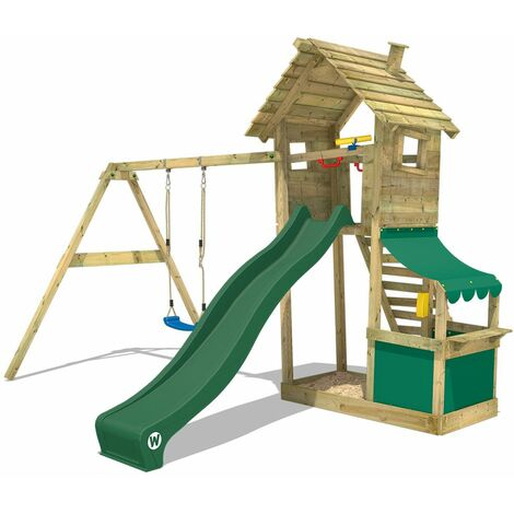 WICKEY Wooden climbing frame Smart Shop with swing set and green slide, Garden playhouse with sandpit, climbing ladder & play-accessories