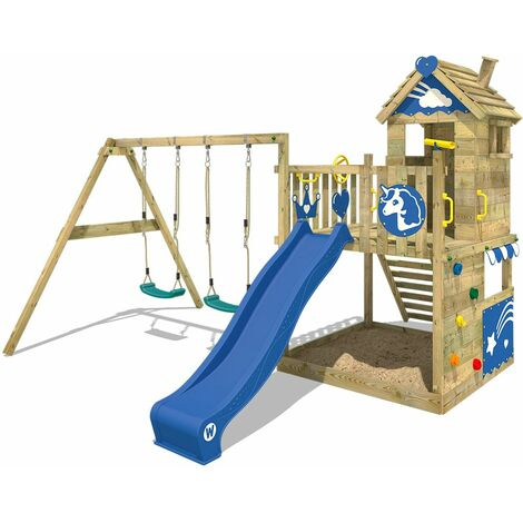 WICKEY Wooden climbing frame Smart Sparkle with swing set and blue slide, Playhouse on stilts for kids with sandpit, climbing ladder & play-accessories