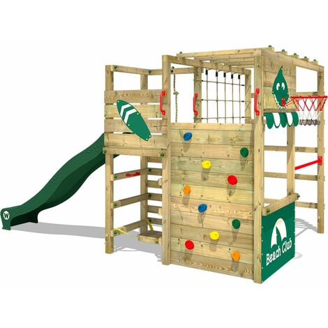 WICKEY Wooden climbing frame Smart Tactic with green slide, Garden playhouse with climbing wall & play-accessories