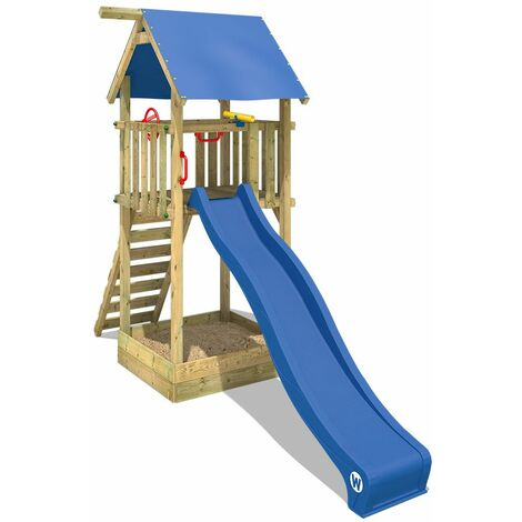 WICKEY Wooden climbing frame Smart Tower with blue slide, Garden playhouse with sandpit, climbing ladder & play-accessories