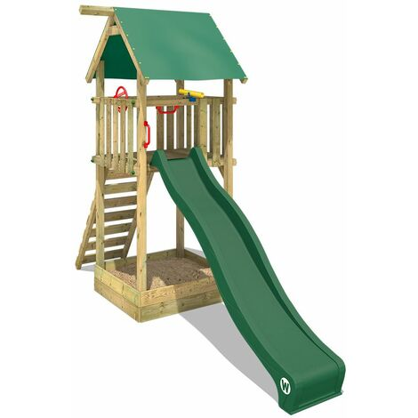 WICKEY Wooden climbing frame Smart Tower with green slide, Garden playhouse with sandpit, climbing ladder & play-accessories