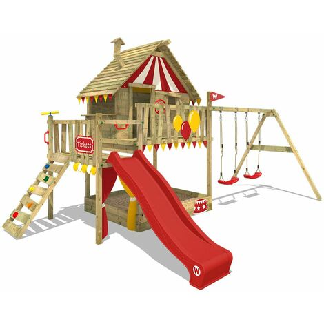 WICKEY Wooden climbing frame Smart Trip with swing set and red slide, Playhouse on stilts for kids with sandpit, climbing ladder & play-accessories