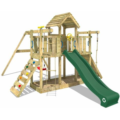 WICKEY Wooden climbing frame Smart Twister with swing set and green slide, Garden playhouse with sandpit, climbing ladder & play-accessories