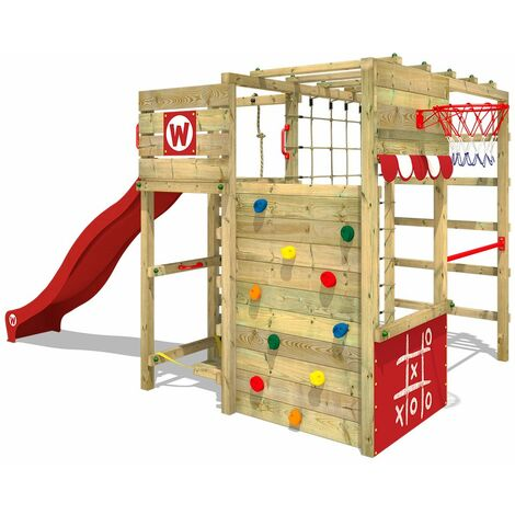 WICKEY Wooden climbing frame Smart Victory with red slide, Garden playhouse with climbing wall & play-accessories