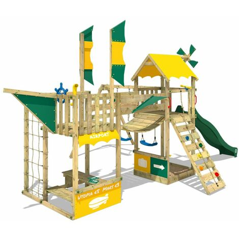 WICKEY Wooden climbing frame Smart Wing with swing set and green slide, Playhouse on stilts for kids with sandpit, climbing ladder & play-accessories
