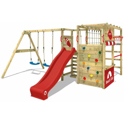 WICKEY Wooden climbing frame Smart Zone with swing set and red slide, Garden playhouse with climbing wall & play-accessories