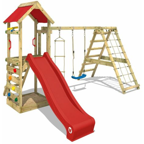 WICKEY Wooden climbing frame StarFlyer with swing set and red slide, Garden playhouse with sandpit, climbing ladder & play-accessories