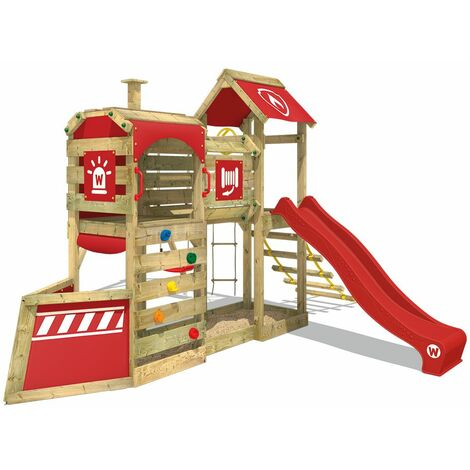 WICKEY Wooden climbing frame SteamFlyer with swing set and red slide, Playhouse on stilts for kids with sandpit, climbing ladder & play-accessories