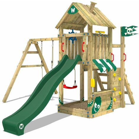 WICKEY Wooden climbing frame The Proud Parrot with swing set and green slide, Garden playhouse with sandpit, climbing ladder & play-accessories