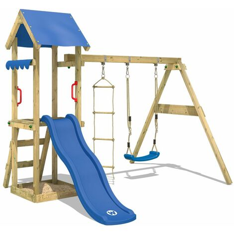 WICKEY Wooden climbing frame TinyCabin with swing set and blue slide, Garden playhouse with sandpit, climbing ladder & play-accessories