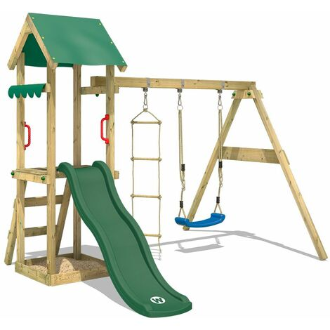WICKEY Wooden climbing frame TinyCabin with swing set and green slide, Garden playhouse with sandpit, climbing ladder & play-accessories