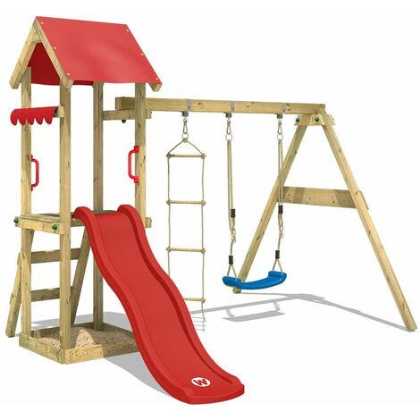 WICKEY Wooden climbing frame TinyCabin with swing set and red slide, Garden playhouse with sandpit, climbing ladder & play-accessories