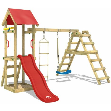 WICKEY Wooden climbing frame TinyLoft with swing set and red slide, Garden playhouse with sandpit, climbing wall & play-accessories