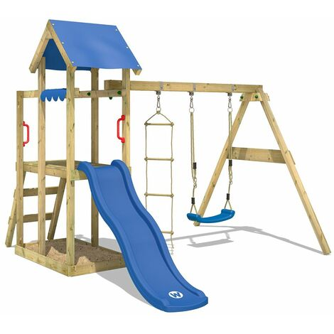 WICKEY Wooden climbing frame TinyPlace with swing set and blue slide, Garden playhouse with sandpit, climbing ladder & play-accessories