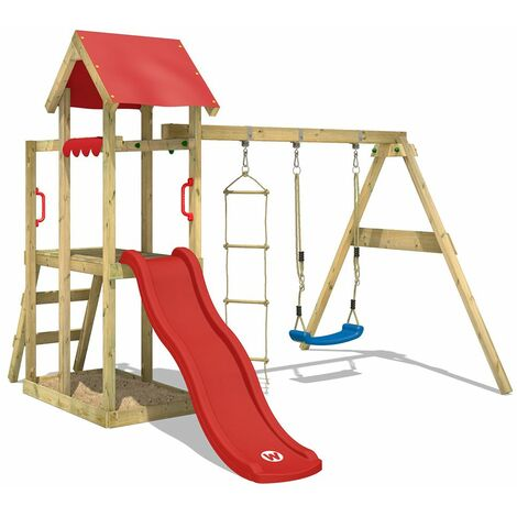 WICKEY Wooden climbing frame TinyPlace with swing set and red slide, Garden playhouse with sandpit, climbing ladder & play-accessories