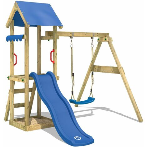 """main image of """"WICKEY Wooden climbing frame TinyWave with swing set and blue slide, Garden playhouse with sandpit, climbing ladder & play-accessories"""""""
