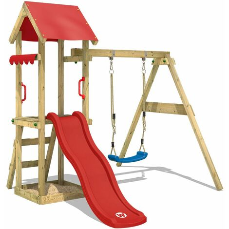 WICKEY Wooden climbing frame TinyWave with swing set and red slide, Garden playhouse with sandpit, climbing ladder & play-accessories