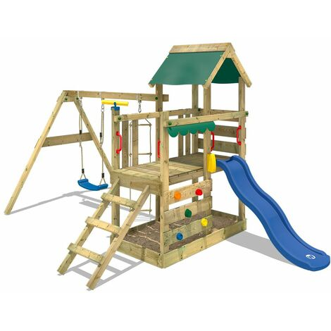 WICKEY Wooden climbing frame TurboFlyer with swing set and blue slide, Garden playhouse with sandpit, climbing ladder & play-accessories