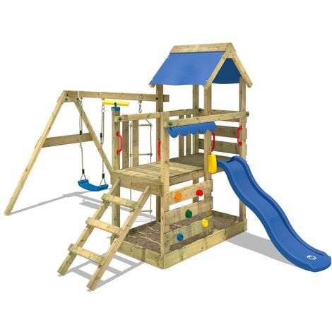 """main image of """"WICKEY Wooden climbing frame TurboFlyer with swing set and blue slide, Garden playhouse with sandpit, climbing ladder & play-accessories"""""""