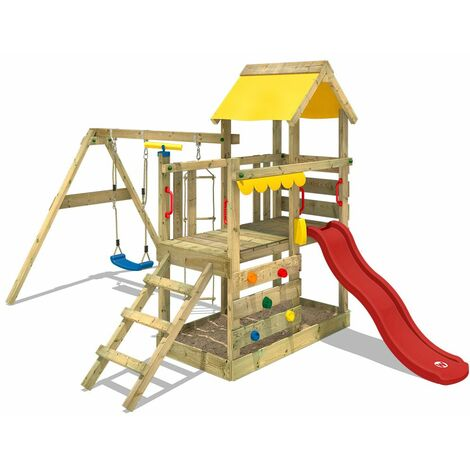 WICKEY Wooden climbing frame TurboFlyer with swing set and red slide, Garden playhouse with sandpit, climbing ladder & play-accessories