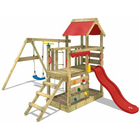 """main image of """"WICKEY Wooden climbing frame TurboFlyer with swing set and red slide, Garden playhouse with sandpit, climbing ladder & play-accessories"""""""
