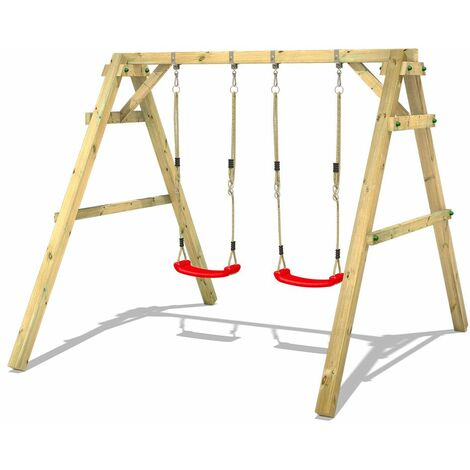 WICKEY Wooden swing set Sky Dancer Prime with Climbing extension Children's swing