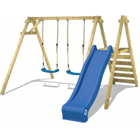 WICKEY Wooden swing set Smart Dash with blue slide Children's swing