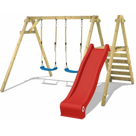 WICKEY Wooden swing set Smart Dash with red slide Children's swing