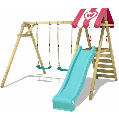 WICKEY Wooden swing set Smart Sugar with turquoise slide Children's swing