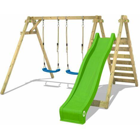 WICKEY Wooden swing set Smart Swift with apple green slide Children's swing