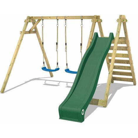 WICKEY Wooden swing set Smart Swift with green slide Children's swing