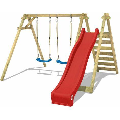 WICKEY Wooden swing set Smart Swift with red slide Children's swing