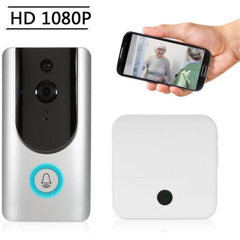 Wifi 1080P Faible Puissance Intelligente Sonnette De Porte (Argent) Supporte Ir (Lampe Ir 6) Avec Un Interieur Buzz (Blanc)
