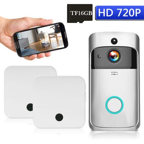 Wifi 720P Faible Puissance Intelligente Ding-Dong Avec Deux Sonnettes Integre En Argent De Carte Memoire 16 Go Pour Un Deux