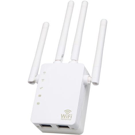 Wifi Booster 1200Mbps Dual Band Wifi 2,4 Ghz 5Ghz Internet Amplificateur De Signal Sans Fil Repeteur Pour Routeur Avec Quatre Antennes Deux Interfaces