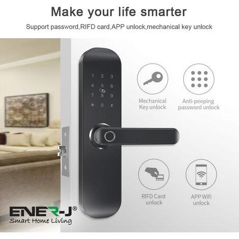 WiFi Doorlock Set (Doorlock+3 Physical Keys+3 RFID Card+Fingerprint+ENERJAPP control) BLACK RIGHT