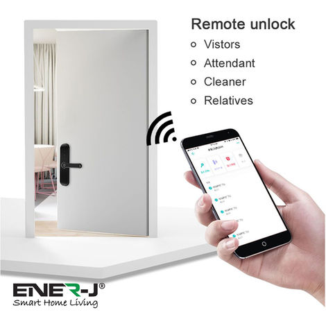 WiFi Doorlock Set (Doorlock+3 Physical Keys+3 RFID Card+Fingerprint+ENERJAPP control) SILVER RIGHT