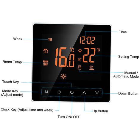WiFi elektrische Heizungsthermostat, die APP Wochenprogrammsteuerung, 16A Touchscreen, Knopfe Orange wei?e Hintergrundbeleuchtung