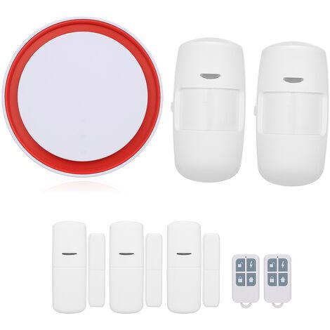 Wifi GSM 2G sistema de alarma 110dB flash estroboscopico sirena de alarma de acogida Detectores de marcado automatico de intercomunicacion 433 MHz IOS Android APP Tuya control remoto, 3 * sensor de la puerta