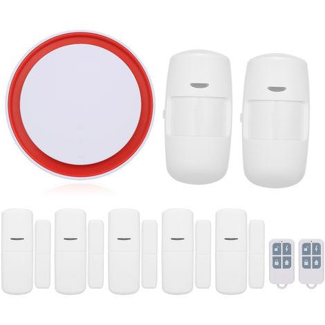 Wifi GSM 2G sistema de alarma 110dB flash estroboscopico sirena de alarma de acogida Detectores de marcado automatico de intercomunicacion 433 MHz IOS Android APP Tuya control remoto, 5 * sensor de la puerta