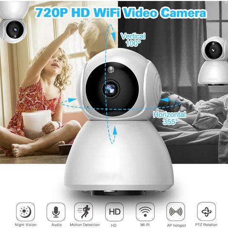 WIFI HD 720P Caméra IP Sans Fil Vision Nocturne Sécurité Maison Soutien Interphone Vocal