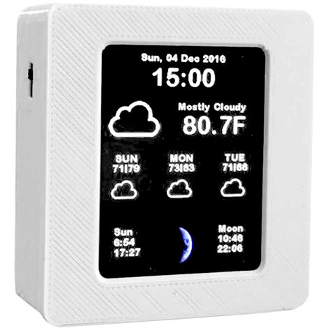 wifi horloge de prevision meteo intelligente horloge de chevet voiture electronique ecran couleur 2,4 pouces expedie sans batterie